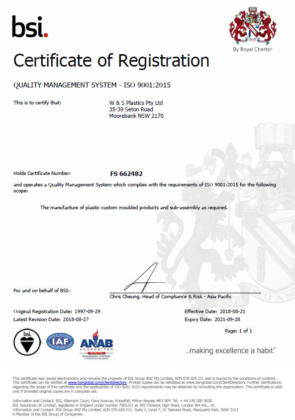 ISO 9001 : 2015 Quality Certificate bsi